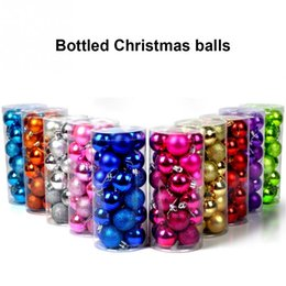 Wholesale Plastic Ornament Balls - 24pcs  lot Christmas Tree Decor Ball Bauble Hanging Xmas Party Ornament decorations for Home
