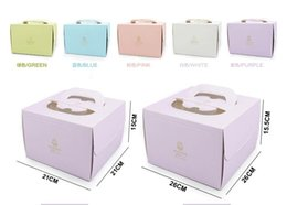 Wholesale Cupcake Packaging Boxes - 6 inch and 8 inch Portable Handle Bakery Cake Boxes European Gold Foil Biscuit Cake Box 5 Color Mousse Cookies Pastry Packaging Boxes