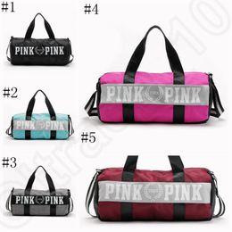 Wholesale Striped Tote Bags - Women Handbags Pink Letter Large Capacity Travel Duffle Striped Waterproof Beach Bag Shoulder Bag 50pcs OOA781