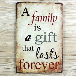 "Wholesale Cafe Paint - Wholesale- wall pictures NEW TIN Signs "" A family is a gift that lasts forever "" Retro decoration Cafe bar Vintage Metal painting 20X30CM"