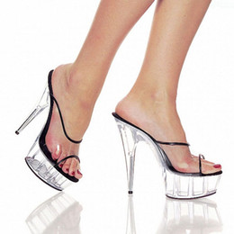 Wholesale Night Club Heels - 6 Inch Neon Wedges Platforms Shoes 15cm Bordered Clear Night Club Fish Mouth Crystal Shoes Exotic Dancer Women Slippers Sandals