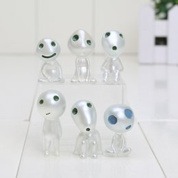 Wholesale Action Figure Anime Resin - Japan cartoon anime Luminous Princess Mononoke Kodama Tree Spirit Action figure Toy terrarium Decoration DIY Accessories 6pcs
