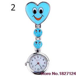 Wholesale Nurse Brooch Style Watch - Wholesale-2015 Popular Style Women's Cute Smiling Faces Heart Clip-On Pendant Nurse Fob Brooch Pocket Watch
