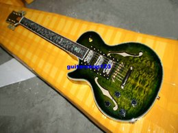 Wholesale Left Handed Jazz Electric Guitar - New Arrival Left Handed Guitar Green Burst Electric Guitars Hollow 3 Pickups Jazz Guitar Wholesale