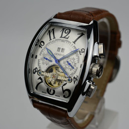 Wholesale Mens Luxury Skeleton Watches - Mens Top Brand Luxury Tourbillon Replicas Watch Classic Men Automatic Mechanical Men Watch Fashion Skeleton Leather Watch relogio masculino