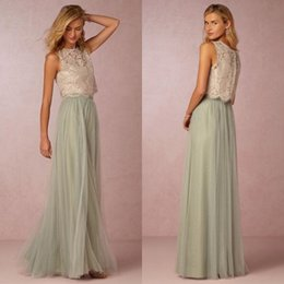 Wholesale Long Skirts For Tops - 2016 Vintage Sage Bridesmaid Dress Long Sheer Jewel Neck Sleeveless Lace Top Tulle Skirt Floor Length Maid of Honor Gowns for Wedding Party