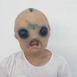 Wholesale Alien Cosplay - New Design UFO Alien Mask Cosplay Scary Ghost Mask Red Brain out Halloween Party Mask Creepy Saucer Man Full Face Horror Ghost Costume