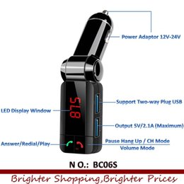 Wholesale Multi Plug Car Charger - Wholesale-2016 new BC06S Multi Function Bluetooth Car Kit Mp3 Player Charger Wireless Fm Transmitter Two-way plug Dual Usb 150pcs lot