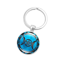 Wholesale Wholesale Goddess Jewelry - Hot!10pcs Fashion Silver Color Key Chain Triple Moon Goddess Art Glass Cabochon Pendant Keychain Jewelry Key Ring for Women Gift