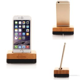 Wholesale Iphone 4s Charging Stand - New Original SAMDI Bamboo Aluminium Metal Mobile Phone Stand Charging Stand Holder Dock Mount For Apple iPhone 6 6S 5S 5C 4S