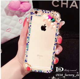 Wholesale Bear Kitty - Beautiful Diamond Cartoon Silicone Frame Case Lovely Kitty Bear Swan Hard PC Crystal Back Cover for iPhone 6 6s 6plus 5 5s SE