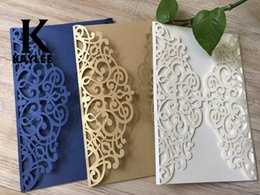 Wholesale Vintage Birthday Greeting Cards - 25Pcs Navy Blue Vintage Laser Cut Wedding Invitation Cards Wedding Invitation Anniverysary  Birthday  Christmas Greeting Cards