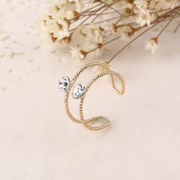 Wholesale Women Finger Tip Ring - New Fashion Top Of Finger Over The Midi Tip Finger Above The Knuckle Rhinestone Open Rings For Women Jewelry