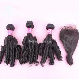 Wholesale Wholesale Hair Nigeria - Aunty Funmi Hair 4*4'' Lace Closure With 3 Bundles 4Pcs Lot Human Hair Weaves Cheap Funmi Nigeria Malaysian Romance Curls Hair And Closures