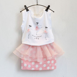 Wholesale Girls Ballet Shirts - Girl ballet fashion flower Lace dot Short skirt Suit new children cartoon Short sleeve T-shirt+Short skirt 2 pcs set Suits B001