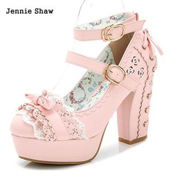 Wholesale White Pink Lolita Shoes - Sweet high heels lolita shoes princess lace bow shoes female thick heel platform shoes sys-1166