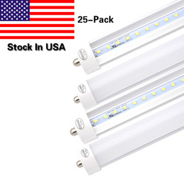 Wholesale Cree Tubes T8 - Stock In US + 8 feet led 8ft t8 FA8 Single Pin led lights 45W LED Fluorescent Tube Lamps AC100-277V 6000K Cold White