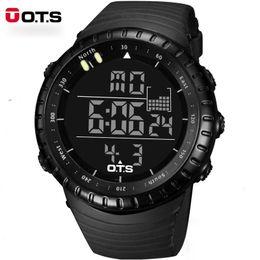 Wholesale Professional Acrylic - OTS Digital Watches Men Sports 50M Professional Waterproof Quartz Large Dial Hours Military Luminous Wristwatches 2016 Fashion