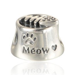 Wholesale Wholesale Pandora Style Pieces - 5 pieces lot cat bowl charms beads authentic original S925 sterling silver fits for pandora style free shipping leaves ALELW561H8
