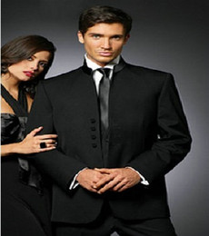Wholesale Nice Jackets - Wholesale-Nice Stand Collar Groom Tuxedos Groomsman Costume Business Suits Prom Suits (Jacket+Pants+Vest+Tie) NO:093