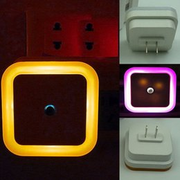 Wholesale Heart Shaped Led - 4 Shape 4 Color Mini LED 0.5W Night Light Control Auto Sensor Baby Bedroom Lamp Square Circle Heart AC 110V-250V LED Night Light for Baby