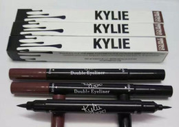Wholesale End Tools - Kylie Double-end Waterproof Double Sided Liquid Eyebrow Pen Eyeliner Eye Liner Pencil Makeup Cosmetic Tools Black+Brown 2 in 1