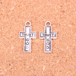 Wholesale Cross Pendants For Jewelry Making - 94pcs Antique Silver Plated cross trust god Charms Pendants for European Bracelet Jewelry Making DIY Handmade 24*13mm