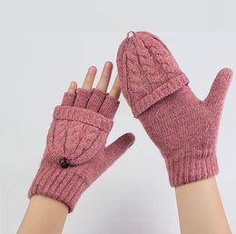 Wholesale Wholesale Women S Fashion Gloves - Warm women 's wool gloves Fingerless Gloves thicker warm gloves winter gloves Double - use gloves with cover gloves wholesale A0323