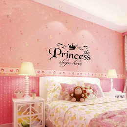 Wholesale Decorative Glass Wall Art - Mayitr New Removable Princess Wall Stickers Decoration Art Vinyl Decals Home Decorative Baby Girls Pretty Bedroom Decor