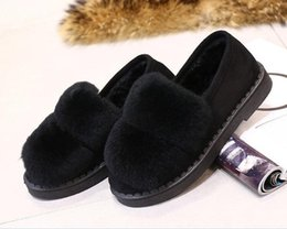Wholesale Women Moccasin Boots - New Winter Women Sheep Fur Loafers Flat 2018 Fashion Suede cony hair boots Slip on Moccasin Keep Warm Bowtie Soft Solid Boat Shoe