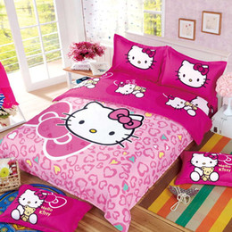 Wholesale Children Bedlinen - Lovely hello kitty bedding set family Home textiles 4 pcs bed clothes, bedlinen pink color fast shipping