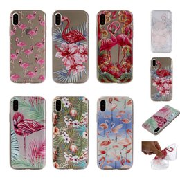 Wholesale Flower Case For Iphone - Flamingo Flower Soft TPU Case For Iphone X 8 7 Plus 6 6S SE 5 5S Clear Stylish Bird Cute Cartoon Silicone Floral Cell Phone Back Skin Cover