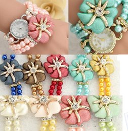 Wholesale Korean Gift Wrapping - 2016 New Style Fashion Korean Flower Pearls Rhinestones Wrist Watch Charm Bracelet Creative Student Wrap Watch Jewelry 9 colors