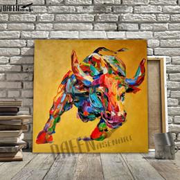 Toros de manos online-100% pintado a mano pintura al óleo sobre lienzo Bull Cow pintura lienzo arte de la obra Home Decoe arte de la pared imagen para la sala de arte mural