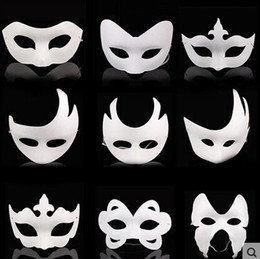 Wholesale White Halloween Masks - Wholesale White Unpainted Face Mask Plain Blank Version Paper Pulp Mask DIY Masquerade Masque Mask