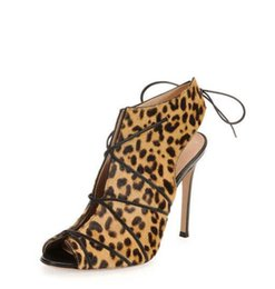 Wholesale Leopard Gladiators - 2016 new Gianvito Rossi Same Style Women High Heels Sandals leopard genuine leather Women Party Shoes 10cm heels