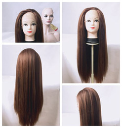 Wholesale Synthetic Swiss Lace Wig - Full Lace synthetic wigs 6# Brown yaki kinky straight synthetic lace front wig for black wowen Heat Resistant Fiber Glueless Swiss Lace Wig