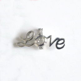 "Wholesale Jewellery Wholesale Necklace - 18KGP Word ""Love"" Locket Cage, Can Hold A Pearl Gem Bead Cage Pendant Mounting, DIY Fashion Necklace Jewellery Fitting"