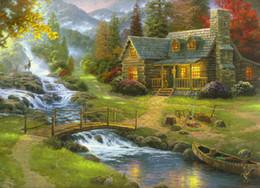 paesaggio paesaggi d'arte montagne Sconti Mountain Paradise Landscape Thomas Kinkade Dipinti ad olio Arte Stampa HD di alta qualità su tela Decor Modern Home Art Soggiorno Decorazione