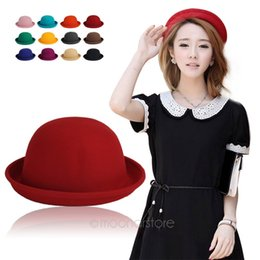 Wholesale Ladies Fedora Hats - Fashion Colorful Women's solid Felt Bowler & Derby Woolen Fedora Hat Lady Round Cap