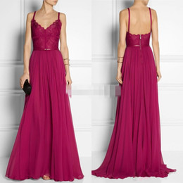 Wholesale Chiffon Maternity Maxi Dresses - 2016 Burgundy Long Evening Dress V Neck A Line Long Sweep Train Chiffon Sexy Backless Sash Maxi Party Gowns Modest Formal Gowns