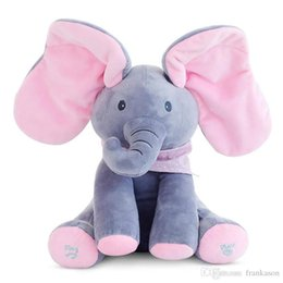 Wholesale Dolls Speak - Peek-a-Boo Elephant Sing Songs Speak and Animated Elephant Ears Flap Hide-and-Seek Game Plush Stuffed Music Dolls Toys Soft Animal Toys