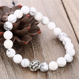 Wholesale Lion Rings Women - European women and men's 8MM natural white stone beaded bracelets unisex lion strands bracelets jewelry accessories