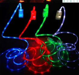 Wholesale Iphone Smile Usb Cable - LED USB Cables Luminous Smiling Face Micro Usb Cable 2.0 Sync Data Charge For Smart Phone