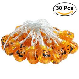 Wholesale Pumpkins Jack O Lanterns - Wholesale- 30 LED Decorative Pumpkin String Light Translucent Orange Jack-O-Lantern Battery Powered For Halloween Party Decoration