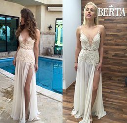 Wholesale Red Dress Legging - 2016 Berta Bridal Summer Beach Wedding Dresses Soft Lace Sexy V Neck Spaghetti Straps Leg Splits Formal 2017 Bridal Gowns