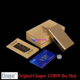 Wholesale E Cigarette New - Wholesale-2015 New 100% Original Cloupor GT 80W MOD e Cigarette Box Mod Dual 18650 Battery Smart Temperature Control Mod Free Shipping