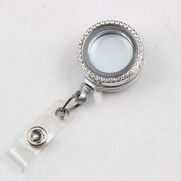 Wholesale Reel Holder - 32MM Silver Retractable ID Badge Reels With 30MM Alloy Metal Rhinestone Glass Locket Eyeglass Holder Id Badge Holder