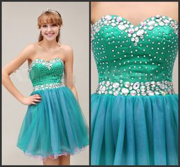 Wholesale Inexpensive White Sweetheart Prom Dress - Ball Gown Dress Full Crystals Short Homecoming Dress Short Green Dresses Sweetheart Neck Zipper Back Mini Prom Dress Youth Girls Inexpensive
