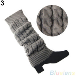 Wholesale Long Boot Cuffs - Wholesale-Women's Crochet Knitted Braided Winter Leg Warmers Long Stocking Boot Cuffs Stocking
